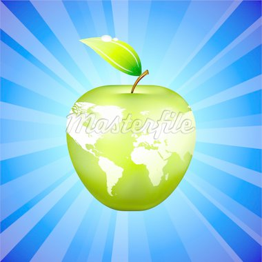 Apple Globe World Map on Blue Background Original Vector Illustration Apple Illustration Stock Photo - Royalty-Free, Artist: iconspro                      , Code: 400-04670690