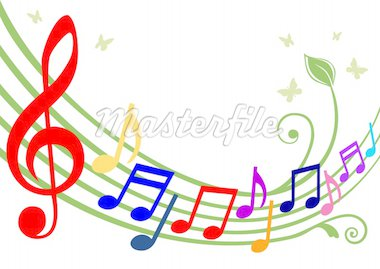 Music theme - dancing colorful notes on white background. Full scalable vector graphic included Eps v8 and 300 dpi JPG, change the colors as you like. Stock Photo - Royalty-Free, Artist: ElaKwasniewski                , Code: 400-04676325