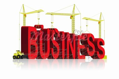 company, tower cranes constructing 3d word Stock Photo - Royalty-Free, Artist: kikkerdirk                    , Code: 400-04686728