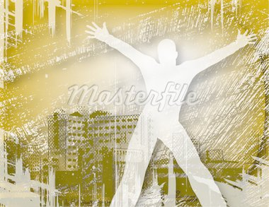 Illustrated design of a man in a city with grunge Stock Photo - Royalty-Free, Artist: tawng                         , Code: 400-04688937