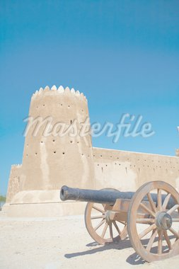 Rebuilt historic Fort Zubarah (Al Zubara) in North East of the deserts of Qatar on the edge of the Persian gulf on a sunny summer day Stock Photo - Royalty-Free, Artist: Forgiss                       , Code: 400-04690123