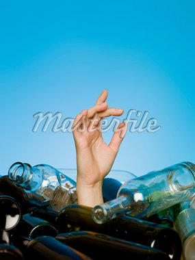 Human buried in a stack of glass bottles Stock Photo - Royalty-Free, Artist: gemenacom                     , Code: 400-04694279