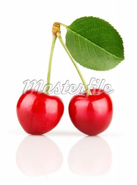 fresh cherry fruits with green leaves isolated on white background Stock Photo - Royalty-Free, Artist: yasonya                       , Code: 400-04694315