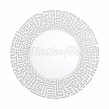 White radial maze without solution.  Three-dimensional,  isolated on white Stock Photo - Royalty-Free, Artist: kesman                        , Code: 400-04696204
