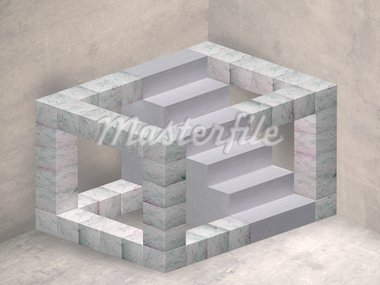 Illustration of an impossible geometric staircase in a mysterious room Stock Photo - Royalty-Free, Artist: paulfleet                     , Code: 400-04700035