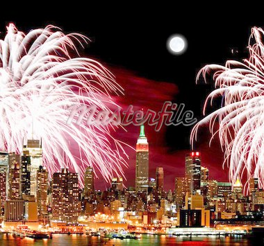 The New York City skyline and holiday fireworks Stock Photo - Royalty-Free, Artist: gary718                       , Code: 400-04711636