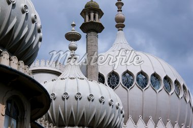 close-up detail of the ornate onion domes and minarets of brightons regency palace the royal pavillion in suusex england Stock Photo - Royalty-Free, Artist: donsimon                      , Code: 400-04718760