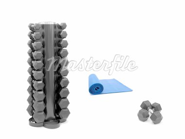 An exercise mat and hand weights isolated against a white background Stock Photo - Royalty-Free, Artist: Kitch                         , Code: 400-04728957