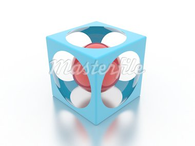 Illustration of a blue cube with sphere inside Stock Photo - Royalty-Free, Artist: Lomachevsky                   , Code: 400-04735469