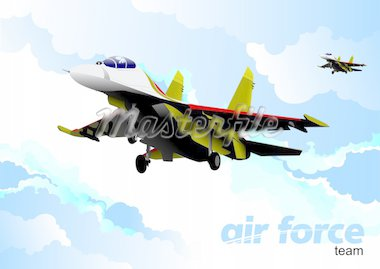 Air force team. Vector illustration Stock Photo - Royalty-Free, Artist: leonido                       , Code: 400-04755060