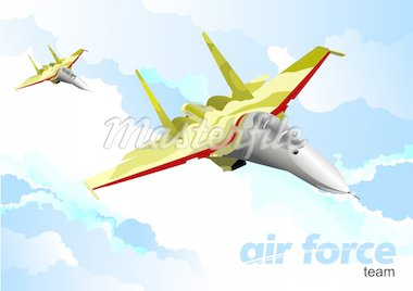 Air force team. Vector illustration Stock Photo - Royalty-Free, Artist: leonido                       , Code: 400-04755061