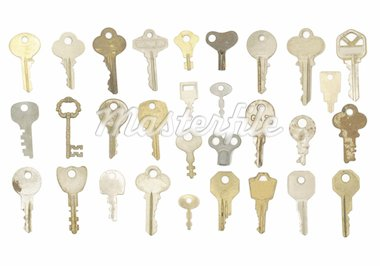 Wide variety of old metal keys including steel and brass varieties isolated on a white background.  30 keys total. Stock Photo - Royalty-Free, Artist: brookebecker                  , Code: 400-04758196