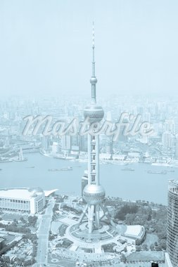China Shanghai the pearl tower, the Bund and Puxi skyline   Stock Photo - Royalty-Free, Artist: csguy                         , Code: 400-04763342