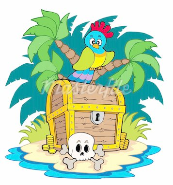 Pirate island with treasure chest - vector illustration. Stock Photo - Royalty-Free, Artist: clairev                       , Code: 400-04770194