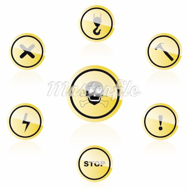 illustration of warning icons on white background Stock Photo - Royalty-Free, Artist: get4net                       , Code: 400-04773066