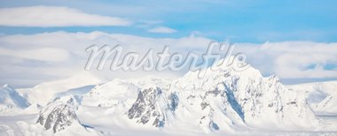 Beautiful snow-capped mountains against the blue sky in Antarctica Stock Photo - Royalty-Free, Artist: goinyk                        , Code: 400-04777013