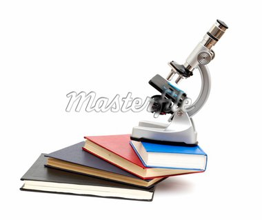 Microscope and books isolated on white background Stock Photo - Royalty-Free, Artist: merznatalia                   , Code: 400-04777310