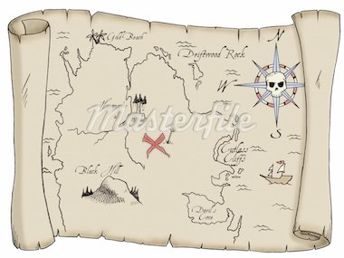A tattered map with labeled landmarks leading to buried pirate treasure. Stock Photo - Royalty-Free, Artist: jonathan78                    , Code: 400-04778710