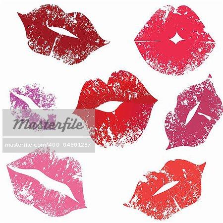 Print of lips, kiss, vector illustration.Element for design