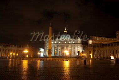 Rome. Italy. St Peter's Basilica by night Stock Photo - Royalty-Free, Artist: salmas                        , Code: 400-04816539