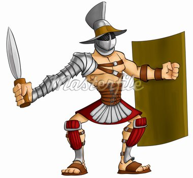 gladiator ready to fight with his gladius and shield Stock Photo - Royalty-Free, Artist: davisales                     , Code: 400-04829422