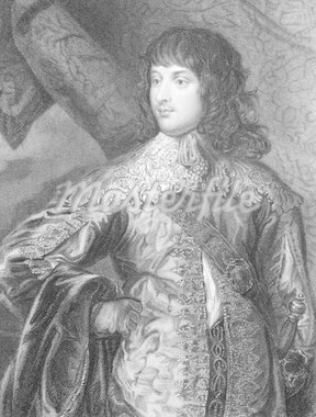 William Russell, 1st Duke of Bedford KG PC (1613-1700) on engraving from 1838. English soldier and peer during the English Civil War. Engraved by J.Cochran after a painting by VanDyke and published by the London Printing and Publishing Company. Stock Photo - Royalty-Free, Artist: Georgios                      , Code: 400-04845832
