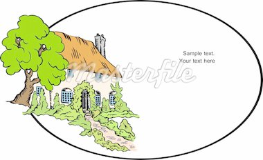 Vector house background. Illustration cartoon home and tree Stock Photo - Royalty-Free, Artist: emaria                        , Code: 400-04851373