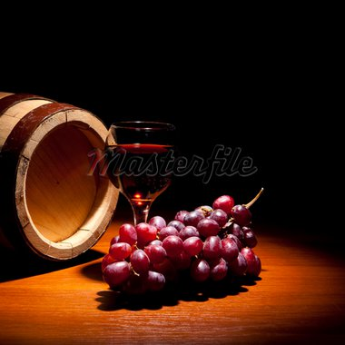 Wine composition (glass, grapes and barrel on black background) Stock Photo - Royalty-Free, Artist: vnn83                         , Code: 400-04859705