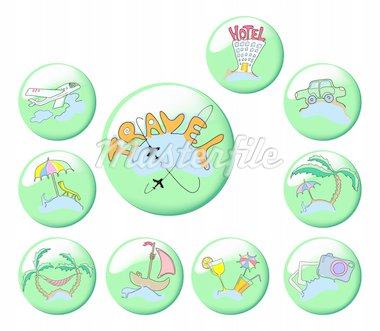 Collection of ten green travel icons, vector illustration Stock Photo - Royalty-Free, Artist: pressmaster                   , Code: 400-04862549