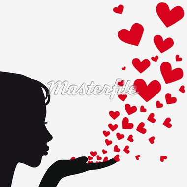 Woman silhouette hand. Pretty girl blowing heart. Drawing background. Vector illustration. Stock Photo - Royalty-Free, Artist: svetap                        , Code: 400-04863562