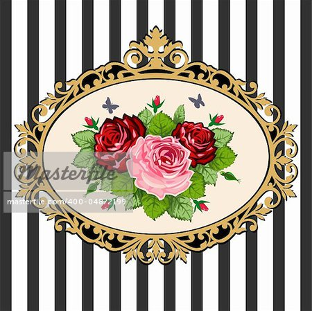Classical black & gold victorian frame with rose bouquet, space for your text. Vintage rose bouquet illustration on black white background.