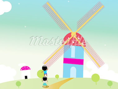 Kids rotating windmill Stock Photo - Royalty-Free, Artist: lovesiyu                      , Code: 400-04889378