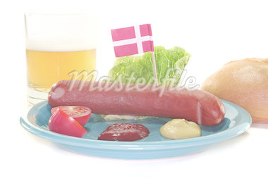 Danish sausage with ketchup, mustard, salad, bread and beer Stock Photo - Royalty-Free, Artist: photooasis                    , Code: 400-04893487