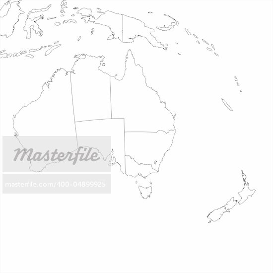Blank Map Of Australia And New Zealand – Empty Map of Australia
