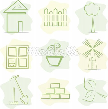 Icons of contryside life and gardening. Vector Illustration. Stock Photo - Royalty-Free, Artist: VeterDraw                     , Code: 400-04900261