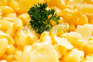 fresh original american style macaroni and cheese with parsley on top ,tipycal american food Stock Photo - Royalty-Free, Artist: keko64                        , Code: 400-04901646