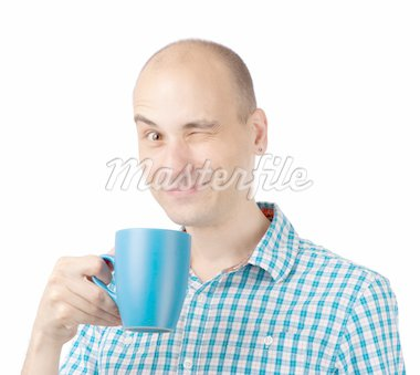 young man drinking coffee isolated on white Stock Photo - Royalty-Free, Artist: spaxiax                       , Code: 400-04901804