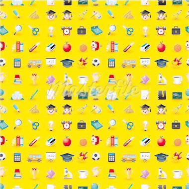 Cartoon school icons seamless pattern Stock Photo - Royalty-Free, Artist: notkoo2008                    , Code: 400-04903361