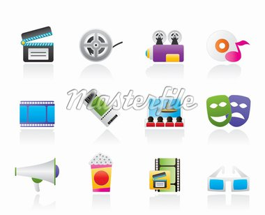Movie theatre and cinema icons - vector icon set Stock Photo - Royalty-Free, Artist: stoyanh                       , Code: 400-04906090