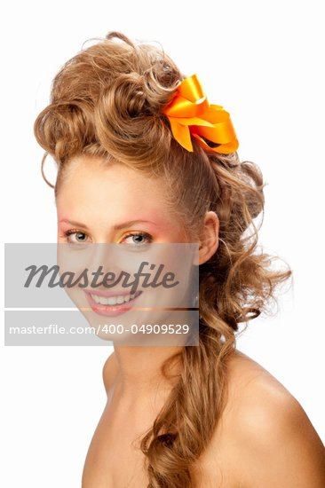 girl with beautiful hair, isolated background Stock Photo - Royalty-Free, Artist: fotoluxstudio                 , Code: 400-04909529