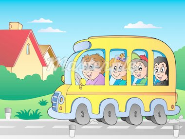 Road with school bus 1 - vector illustration. Stock Photo - Royalty-Free, Artist: clairev                       , Code: 400-04911200
