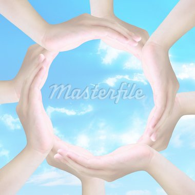 human hands making a circle with copy space in light Stock Photo - Royalty-Free, Artist: pariwatlp                     , Code: 400-04912165
