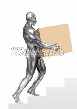 An illustration of a chrome man figure carrying a box. Stock Photo - Royalty-Free, Artist: rudall30                      , Code: 400-04912263