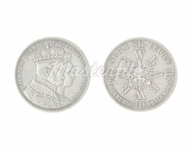 Vintage German coin isolated on a white Stock Photo - Royalty-Free, Artist: spaxiax                       , Code: 400-04912629