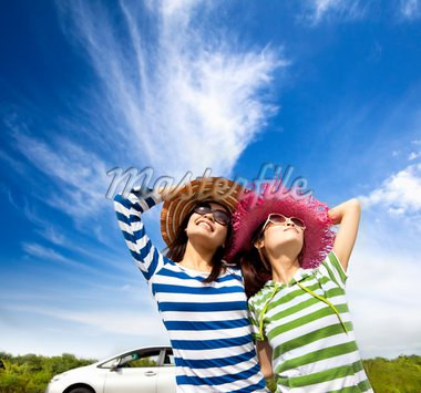 happy young woman enjoy vacation  on road trip Stock Photo - Royalty-Free, Artist: tomwang                       , Code: 400-04913957