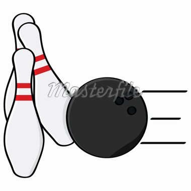 Cartoon illustration showing a bowling ball hitting some pins Stock Photo - Royalty-Free, Artist: bruno1998                     , Code: 400-04914625