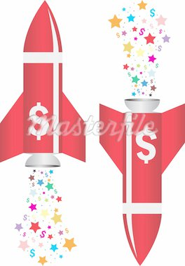 Illustration art of dollar rocket with isolated background Stock Photo - Royalty-Free, Artist: designersamy                  , Code: 400-04914909