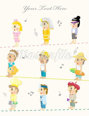 cartoon people job seamless pattern Stock Photo - Royalty-Free, Artist: notkoo2008                    , Code: 400-04915535