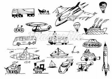 hand drawn transportation icons isolated on the white background Stock Photo - Royalty-Free, Artist: jonnysek                      , Code: 400-04917339