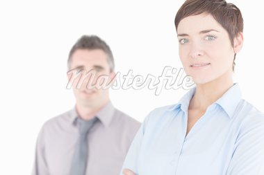 Close up of managers posing against a white background Stock Photo - Royalty-Free, Artist: 4774344sean                   , Code: 400-04917921